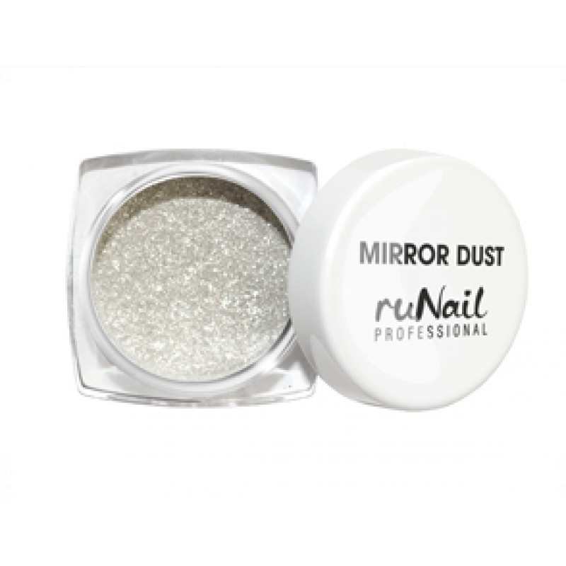 RuNail Пыль зеркальная для втирки с аппликатором, серебро 1 г