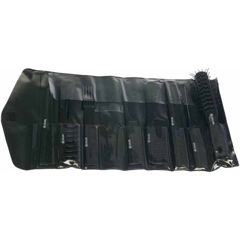 DEWAL PROFESSIONAL Набор расчесок в черном чехле, 8 предметов (черный)