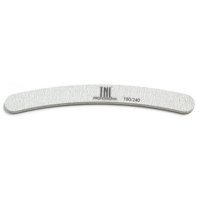 TNL PROFESSIONAL Пилка бумеранг для ногтей 180/240, серая (в индивидуальной упаковке)
