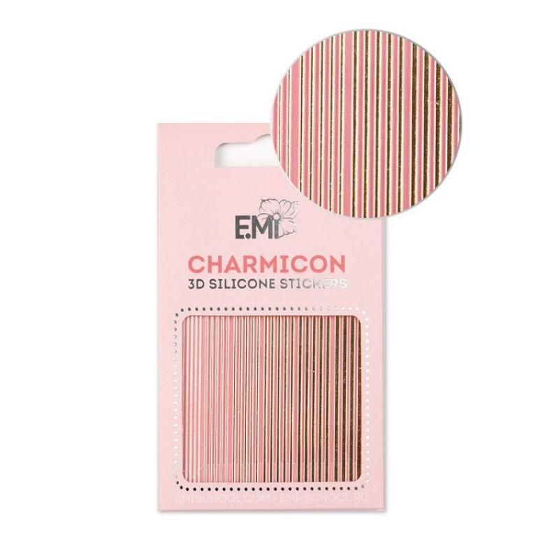 E.MI Декор для ногтей №117 Линии золото / Charmicon 3D Silicone Stickers