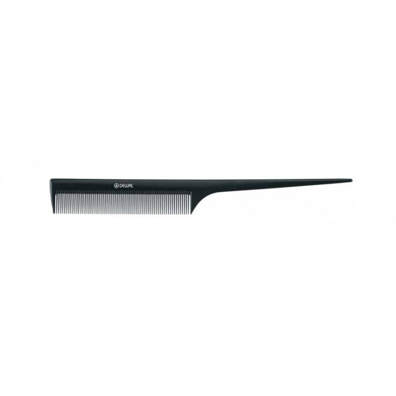 DEWAL PROFESSIONAL Расческа рабочая с пластиковым хвостиком Эконом (черная) 21 см