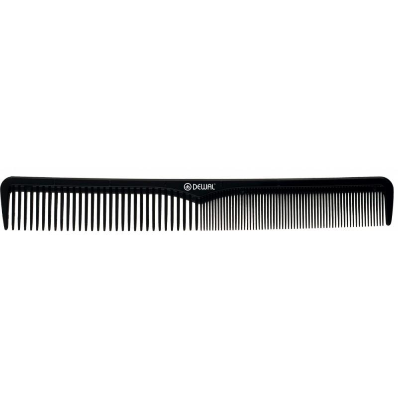 DEWAL PROFESSIONAL Расческа рабочая комбинированная, с разметкой Эконом (черная) 18 см