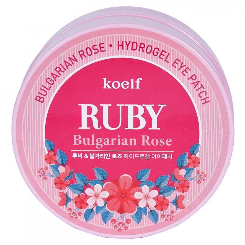 KOELF Патчи гидрогелевые с рубиновой пудрой и болгарской розой для области вокруг глаз 60 шт