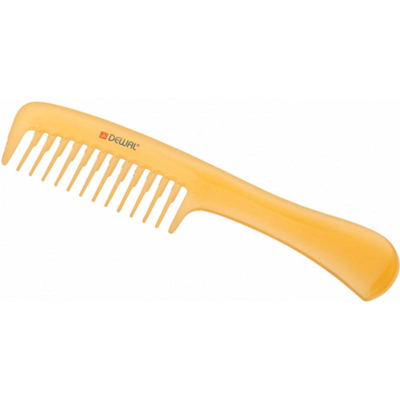 DEWAL PROFESSIONAL Расческа рабочая Prosun с ручкой, антистатик (желтая) 20,5 см