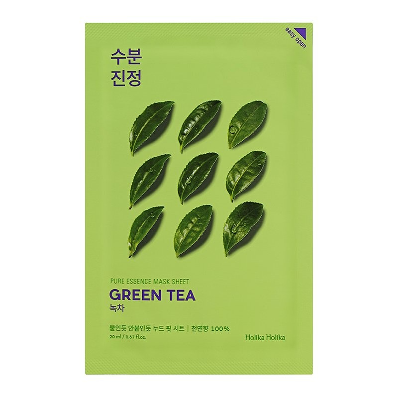 HOLIKA HOLIKA Маска тканевая противовоспалительная Пьюр Эссенс, зеленый чай / Pure Essence Mask Sheet Green Tea 20 мл