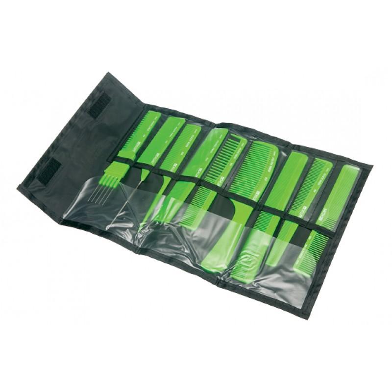 DEWAL PROFESSIONAL Набор расчесок в черном чехле, 9 предметов (салатовый)