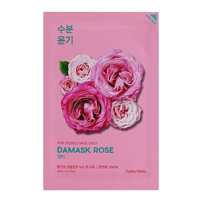 HOLIKA HOLIKA Маска тканевая увлажняющая Пьюр Эссенс, дамасская роза / Pure Essence Mask Sheet Damask Rose 20 мл